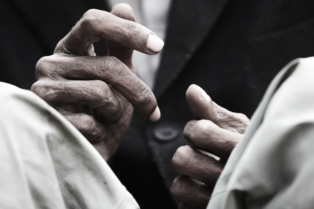 Hands of an old Indian